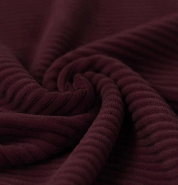 Chunky Knitted Corduroy Jersey - Burgundy