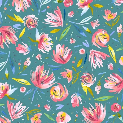 Floral French Terry - Petrol