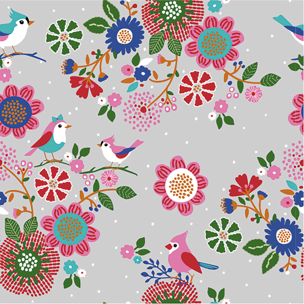 Floral Bird French Terry - Light Grey