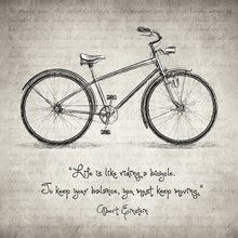 Albert Einstein Bicycle Quote - Art Print