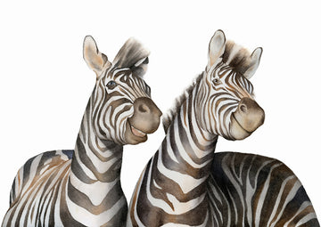 Zebras Watercolor - Art Print