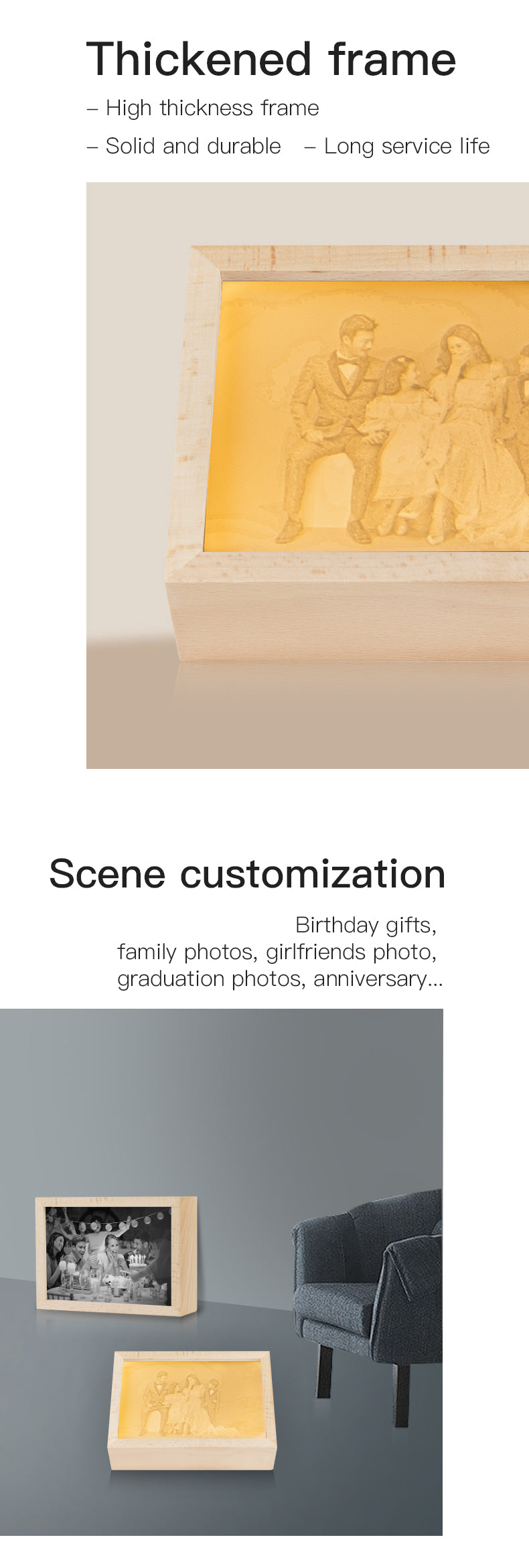 Creative Custom 3D Printed Embossed Photo Frame