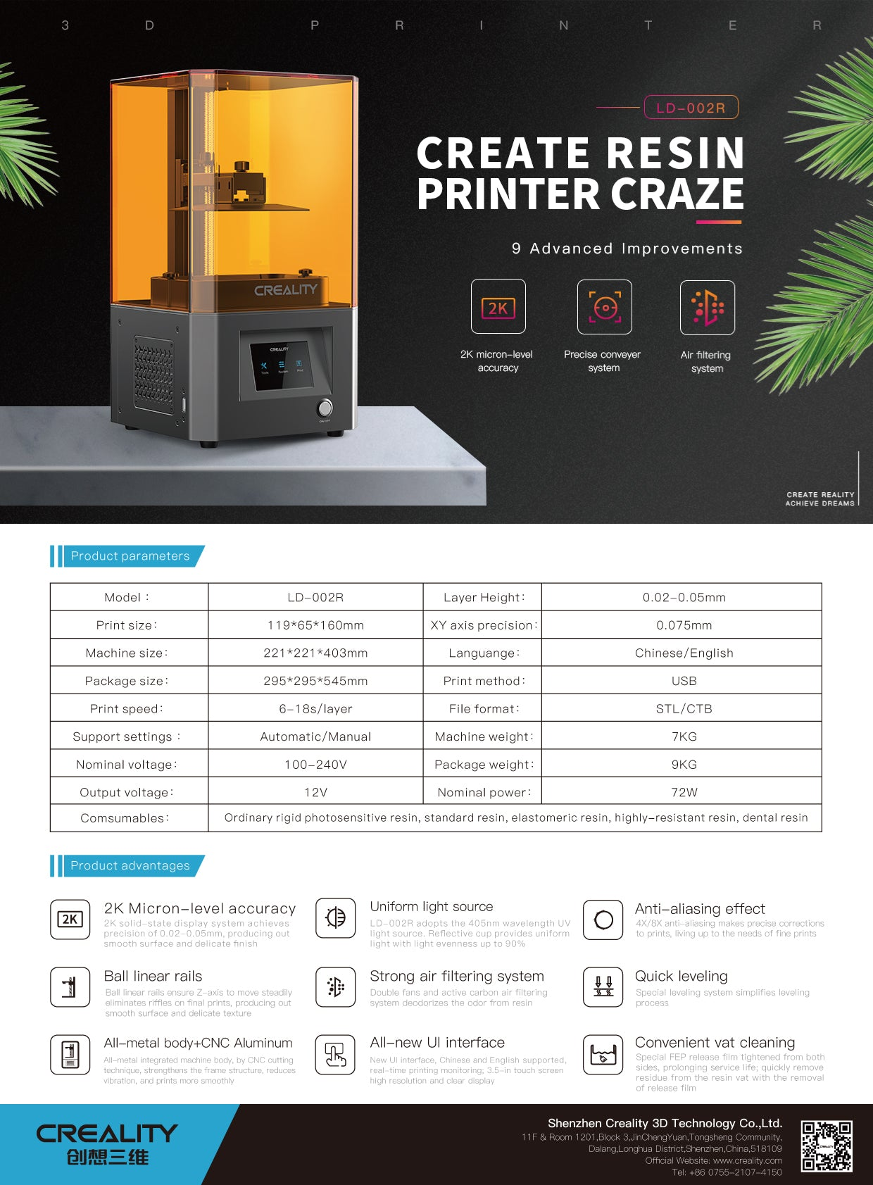 CREALITY 3D LD-002R LCD Resin 3D Printer