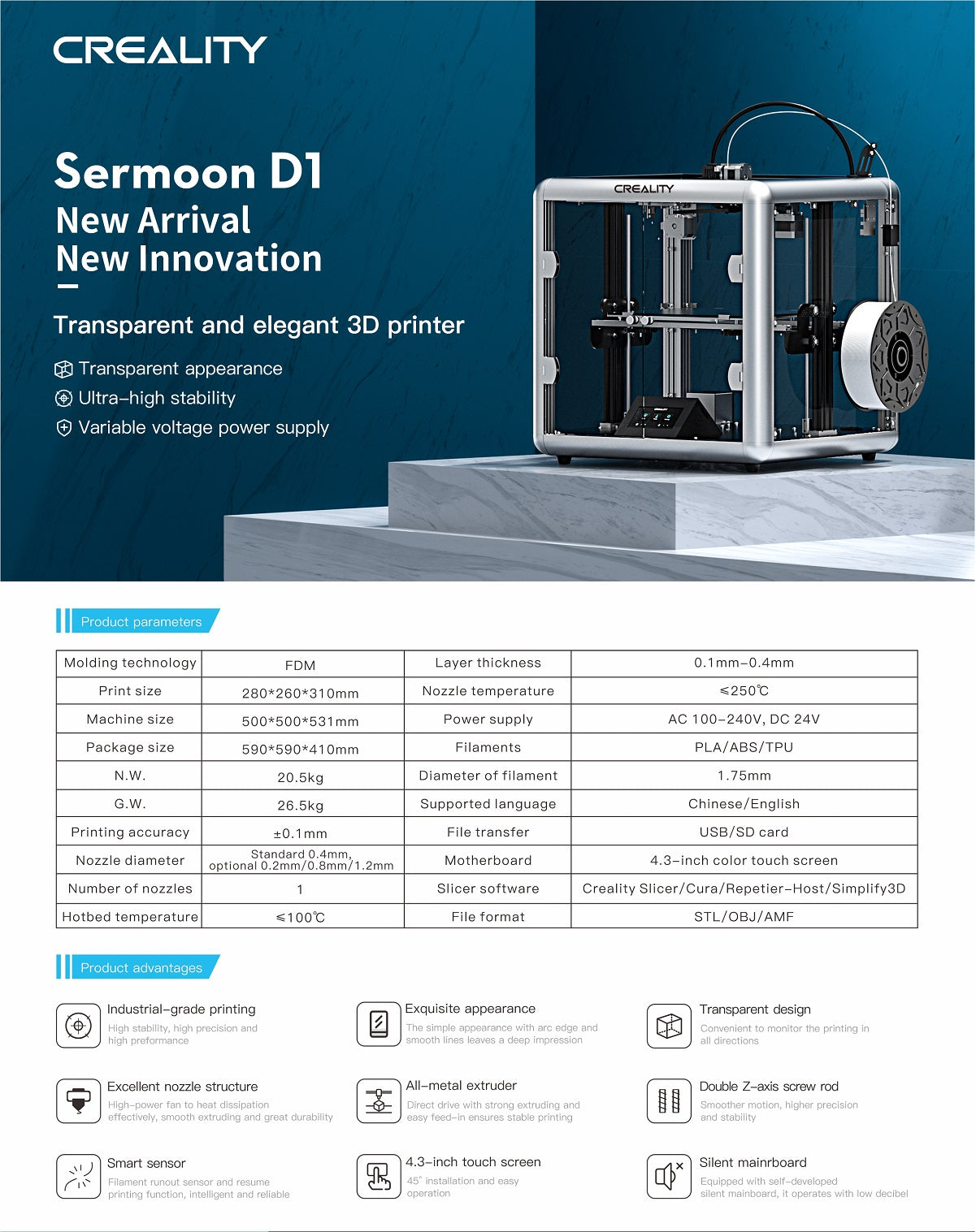 Sermoon d1 enclosed 3d printer, direct drive 3d printer