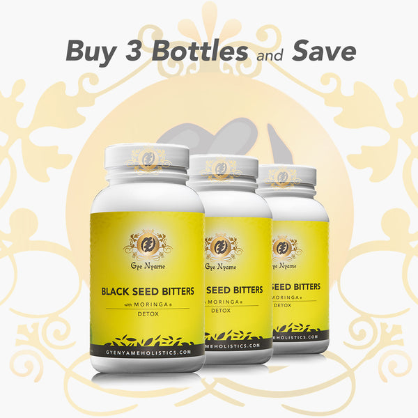 3 Bottles of BLACK SEED BITTERS with MORINGA CAPSULES