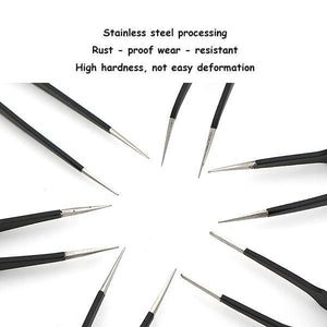 10pcs Precision Stainless Steel Tweezers