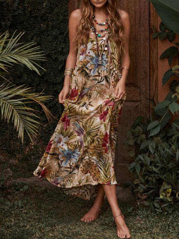 Printed Condole Belt Maxi Dress