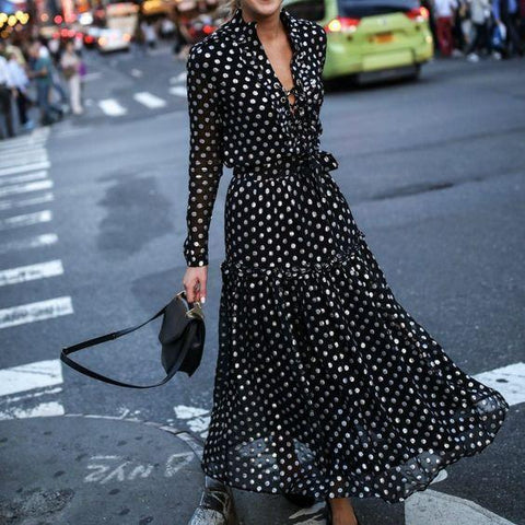 Simple 3 Colors Polka-dot V-neck Midi Dress