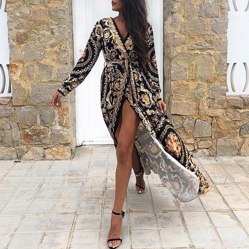 Fashion Deep V Long Sleeve Printed Colour Maxi Dresses
