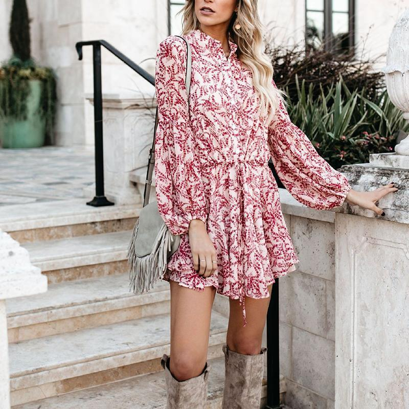 Fashion Printed Colour Waist Long Sleeve Dresses
