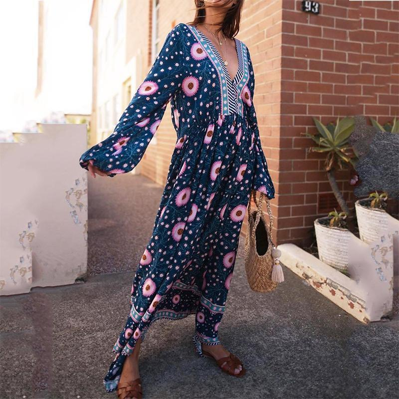 Bohemian Deep V Printed Colour Long Sleeve Maxi Dresses