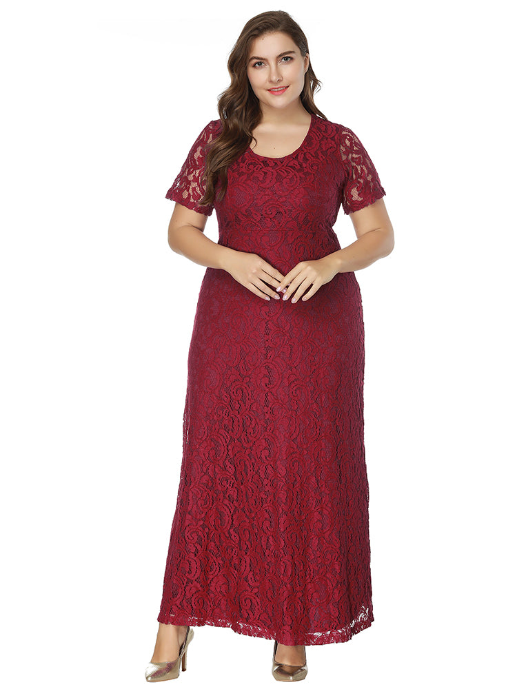 women plus size Evening dress short-sleeved full lace dress