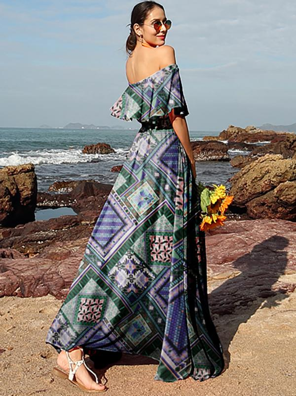 Split-side Off-the-shoulder Maxi Dress