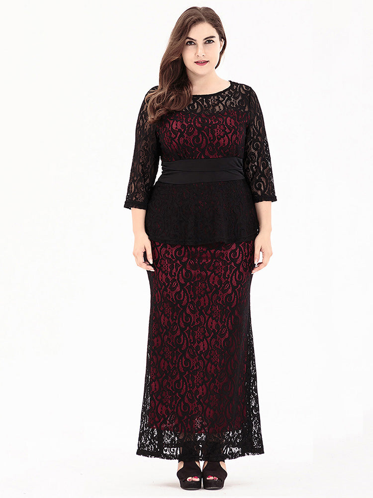 plus size red blue lace spandex hollow three quarter length sleeve dress