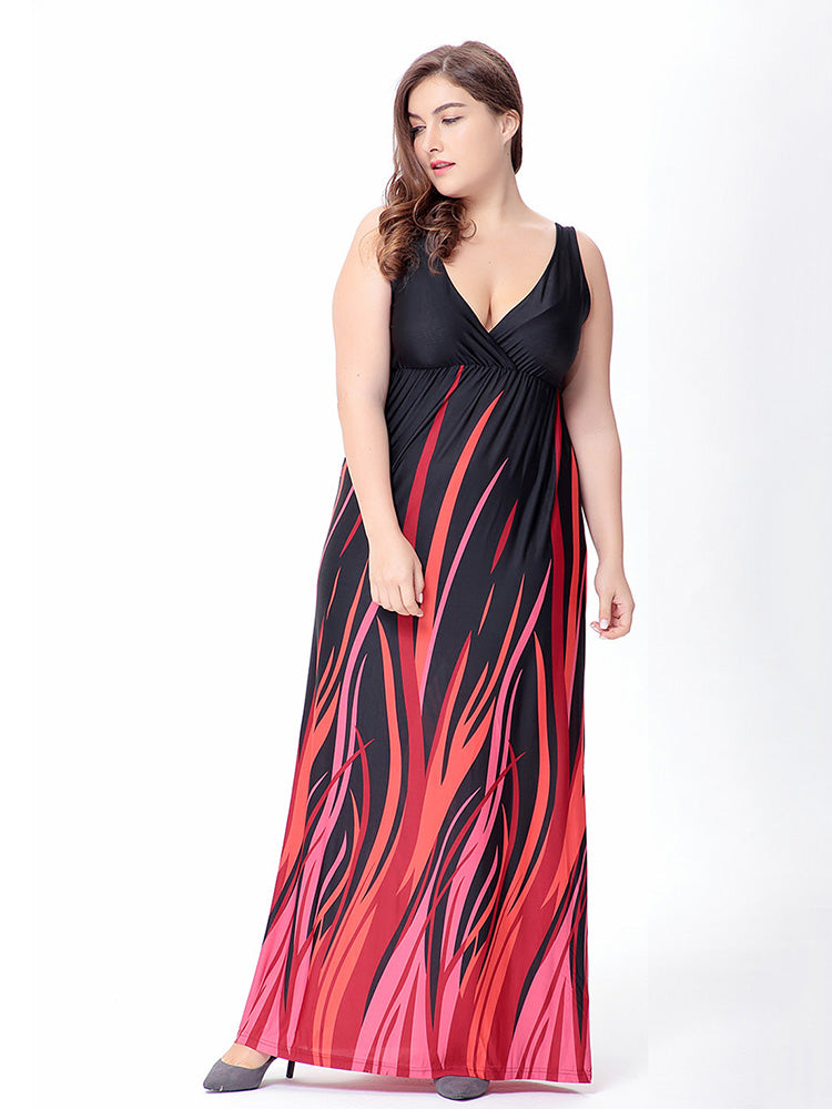 polyester deep v neck black red striped sleeveless plus size dress