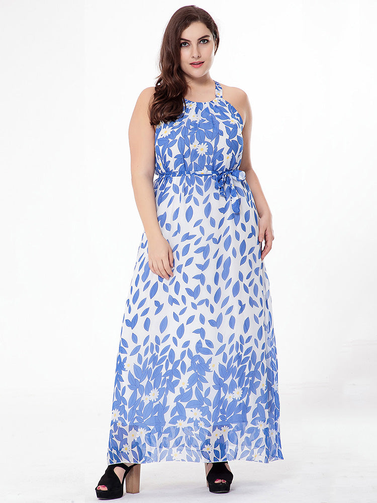 chiffon round neck floral blue white plus size with belts dress