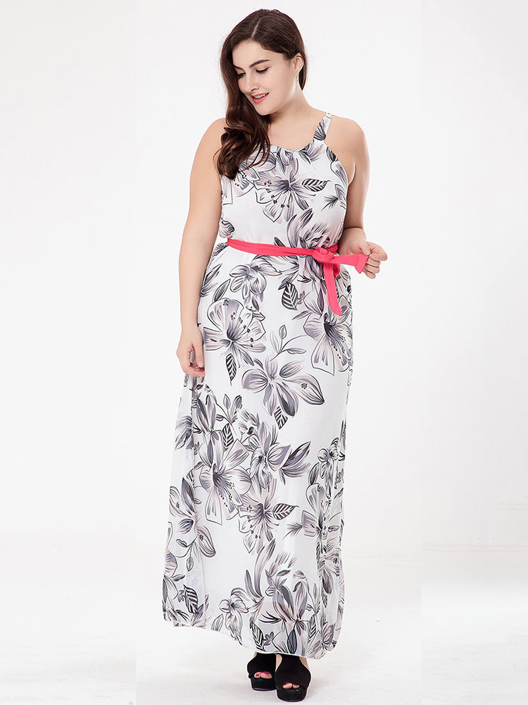 round neck white sleeveless whit belts floral chiffon polyester dress