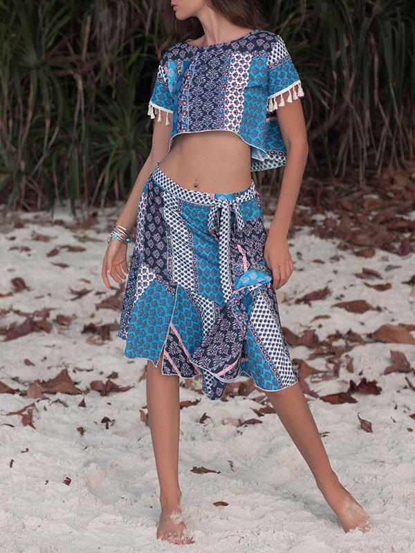 Tasseled Printed Cropped Bohemia Suits