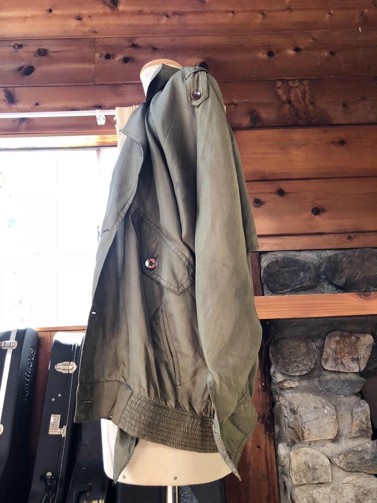 ef96f765d8d Load image into Gallery viewer, Vintage cropped deconstructed trench jacket  olive green sage 100% ...