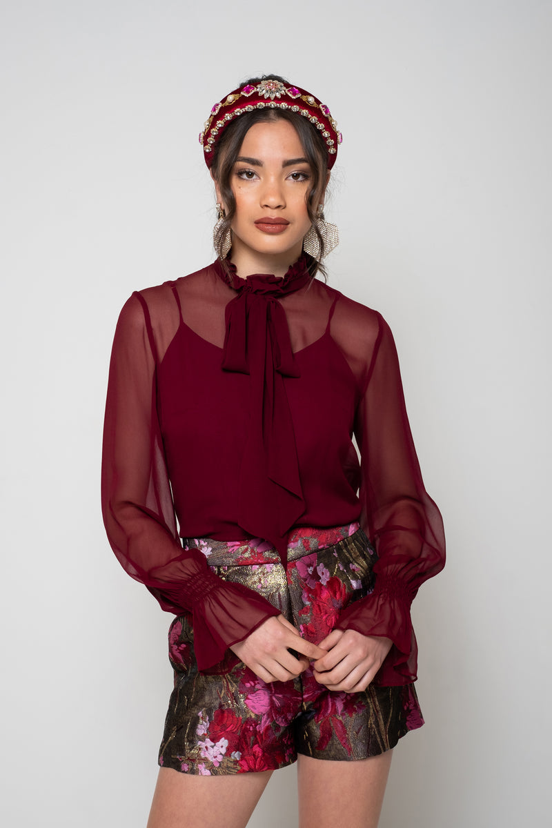 Cate Blouse - Burgundy
