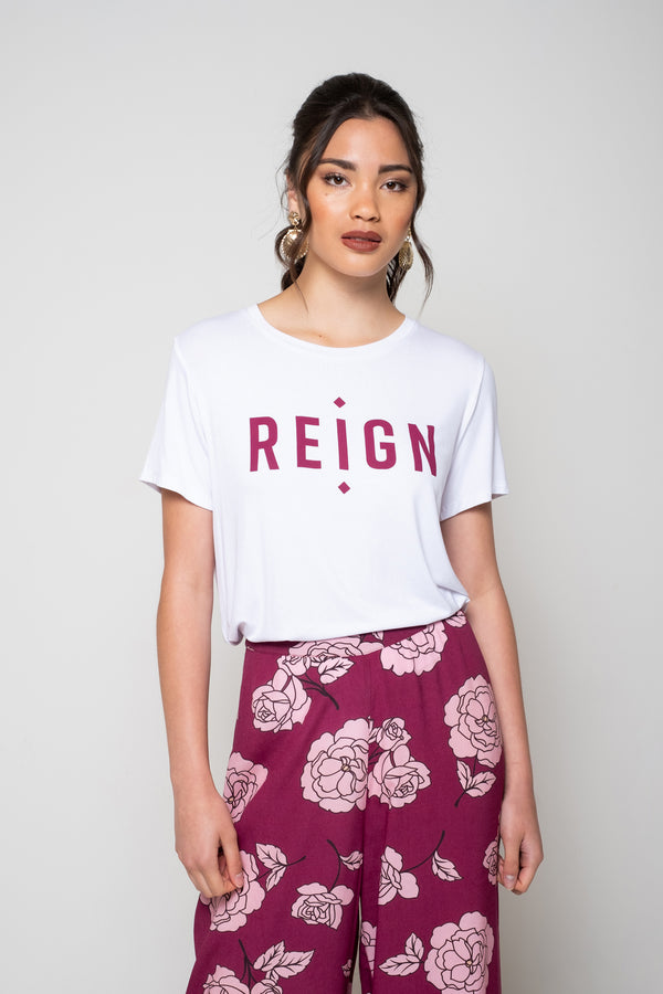 Victoria T Shirt - White with burgundy
