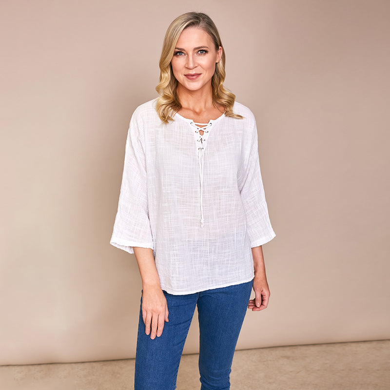 Donna Tie Lace Linen Top White