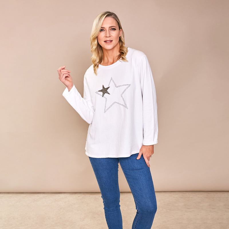 Sophia Star Top (White)