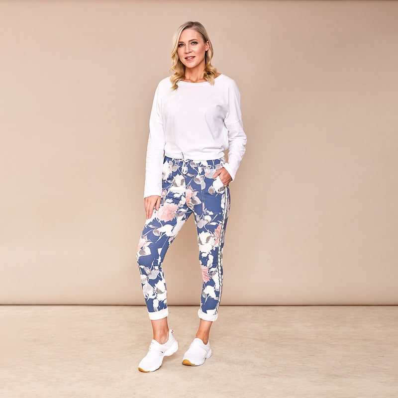 Milly Floral Joggers (Blue)