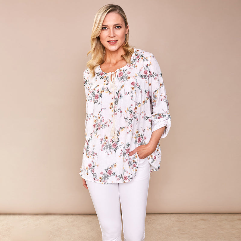 Chloe Flower Cotton Top (White)