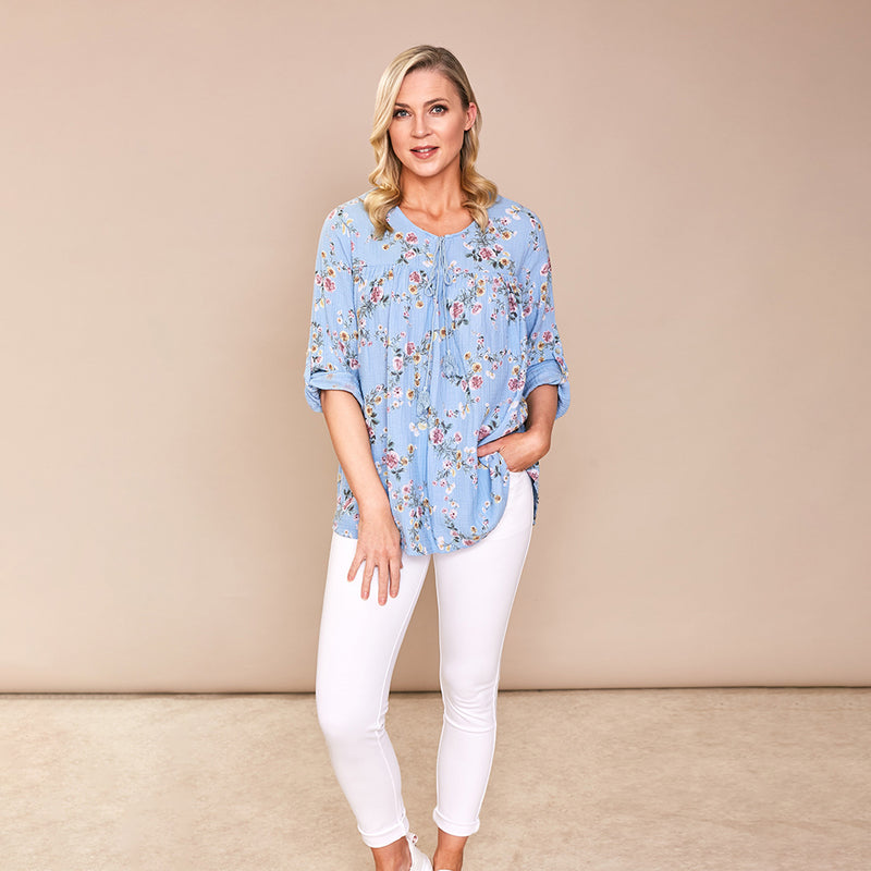 Chloe Flower Cotton Top (Blue)