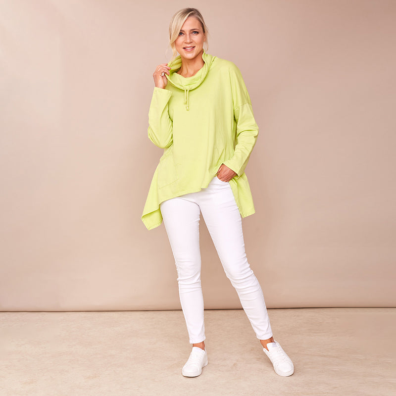 Viv Pocket Cowl Neck (Lime Green)