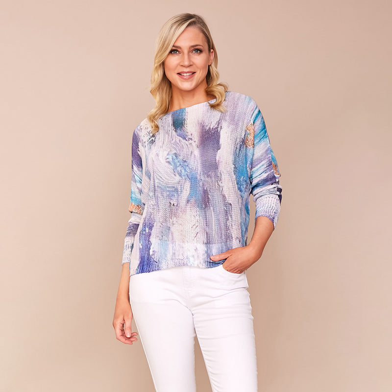 Karina Batwing Jumper (Blue Splash )