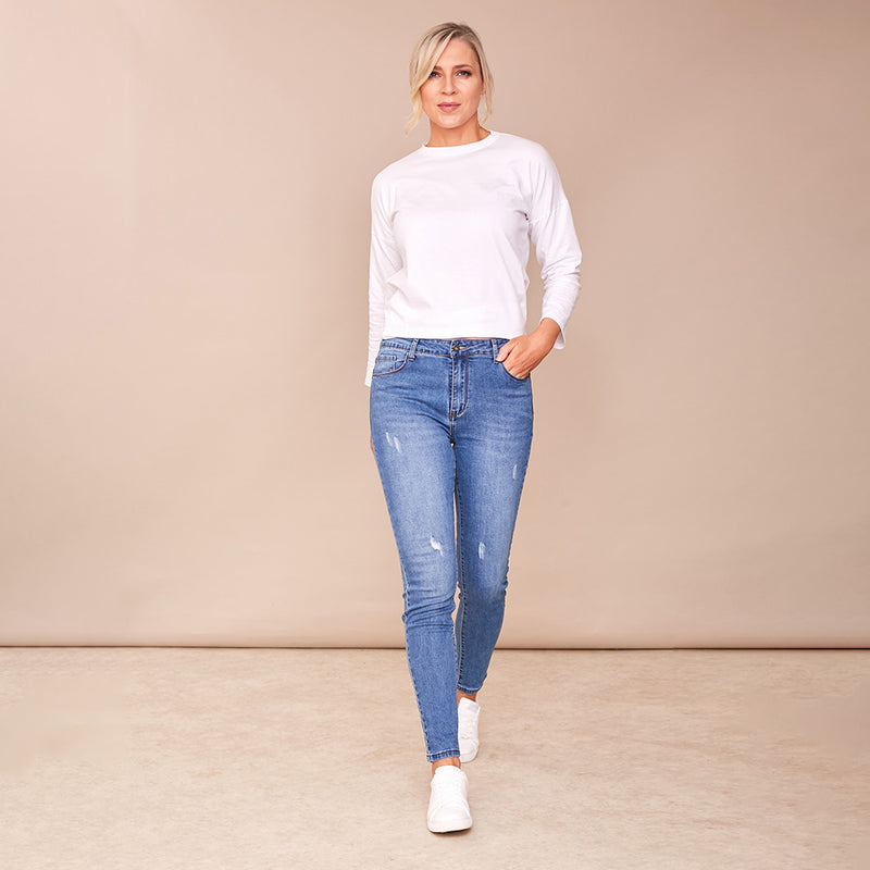 Katie Denim Trouser (Denim Blue)