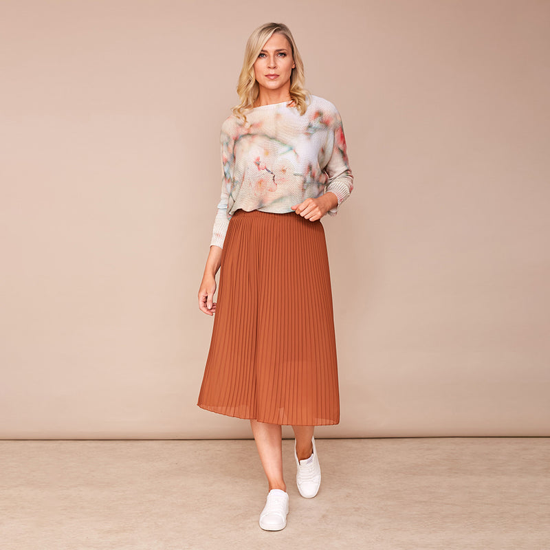Long Pleat Skirt (Brown)