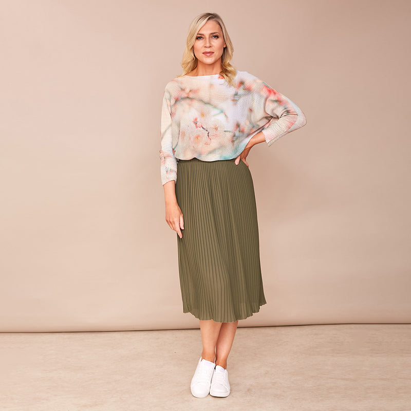 Long Pleat Skirt (Khaki)