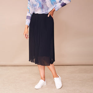 Long Pleat Skirt (Navy)