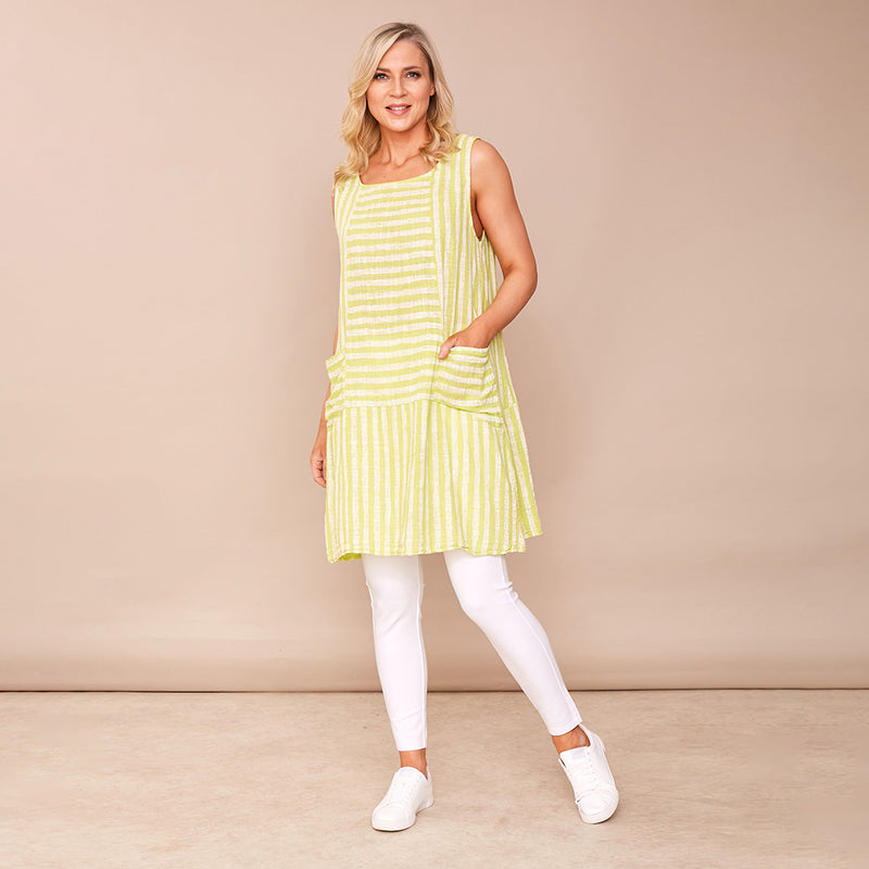 Sleeveless Stripe Dress (Lime Green)