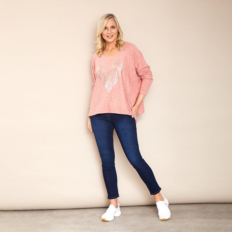 Athena V Neck Jumper (Pink)