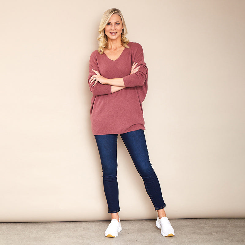 Vicky V Neck Jumper (Pink)