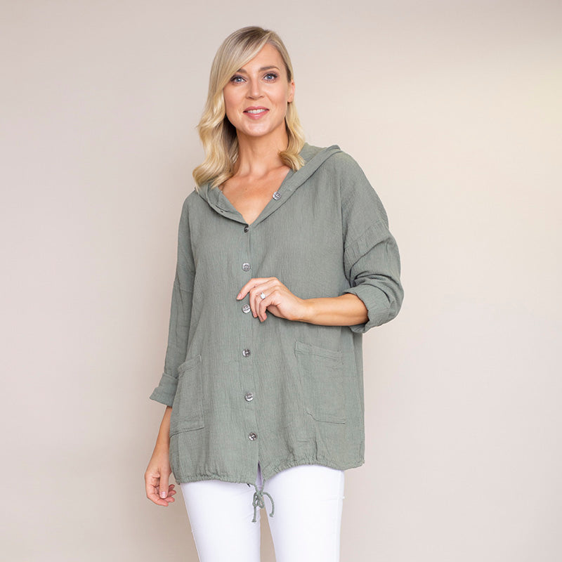 Crinkle Cotton Hoody Jacket (Khaki)