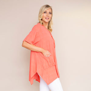 Two Pocket Button Cotton Top