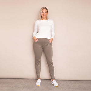 Ann Stretch Waist Trousers (Khaki-Light)