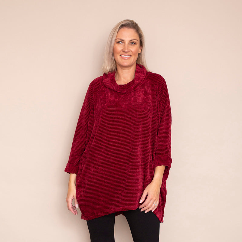 Coleen Velour Top (Wine)