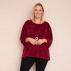 Emily Velour Top (Wine)