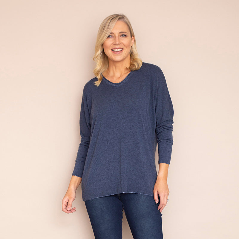 Regina V Neck Jumper (Denim Blue)