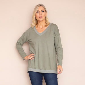 Sophie V Neck Top (Khaki)