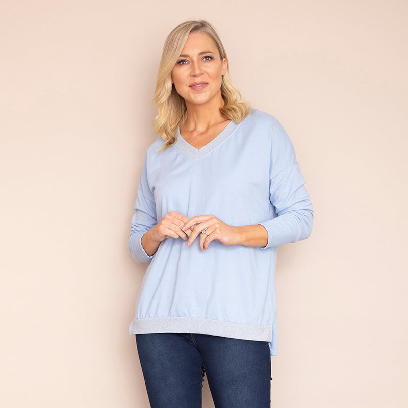 Sophie V Neck Top ( Sky Blue)