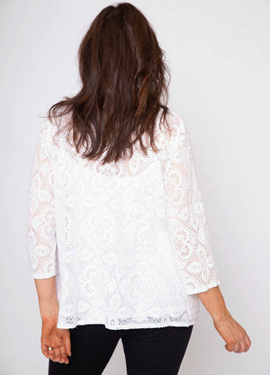 Roll Collar Pocket Lace Cardi