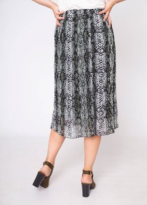 Snake Print Pleat Skirt