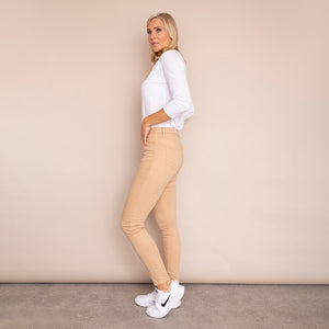 Kylie Cotton Trousers (Beige)